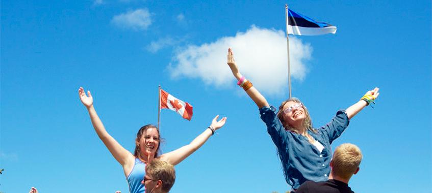 Jõekääru- Canada and Estonia flags